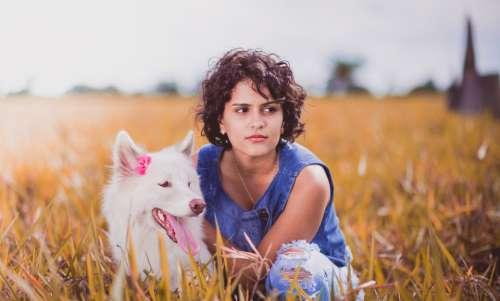 young girl dog anmimal people
