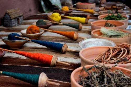 stick pot yarn blue yellow