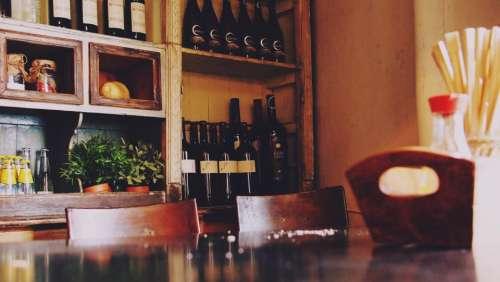 restaurant bar cafe wine bottles