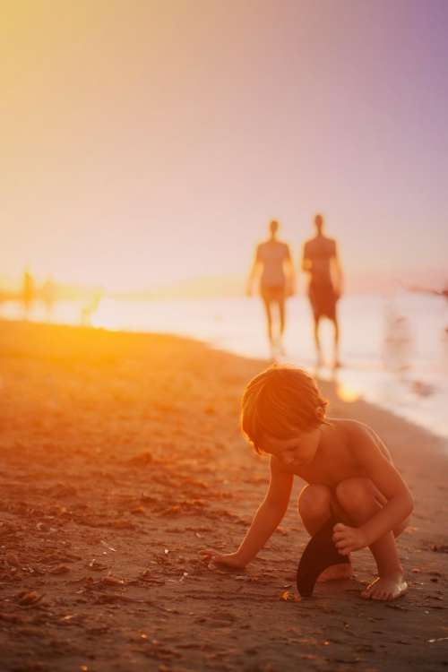 child beach ocean sea shore