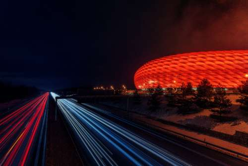 soccer stadium night autobahn highway