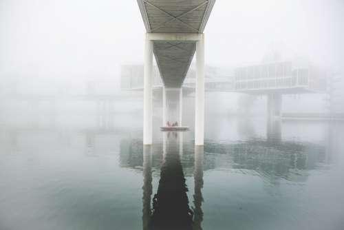 bridge water architecture boat mist