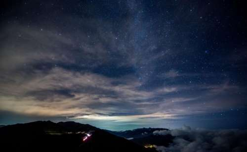 dark blue sky night mountains