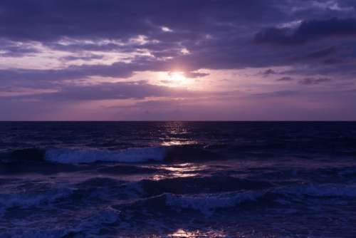dark sunset sea ocean waves
