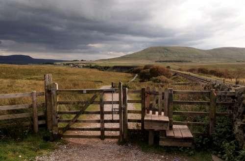 wood fence farm rural countryside