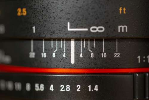 camera lens scale numbers lines
