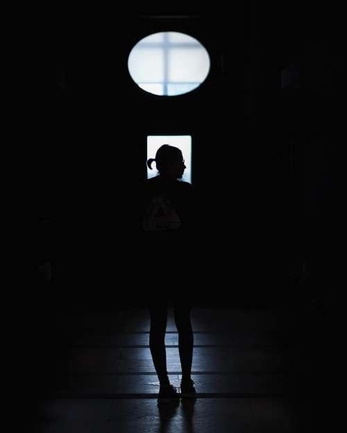 people woman girl indoor dark