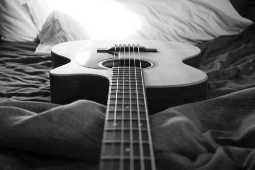 black and white guitar string music acoustic