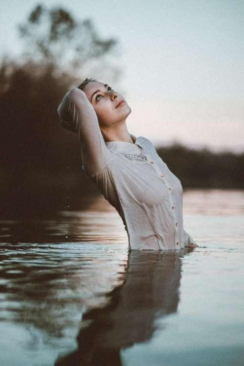 people girl woman sea water