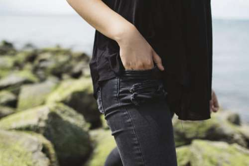 people woman denim fashion black
