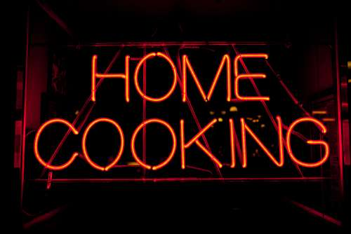neon sign cook cooking home