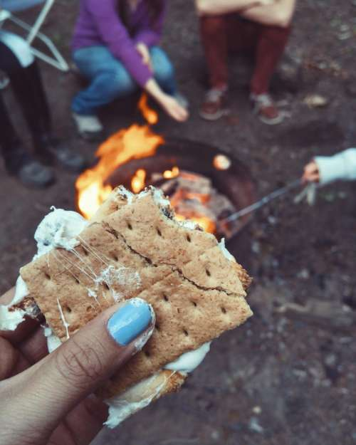 s'more food snack fire cooking
