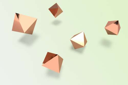 flat lay pastel shapes octahedron brass
