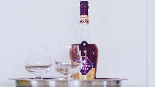 bottle brandy glass tray classy