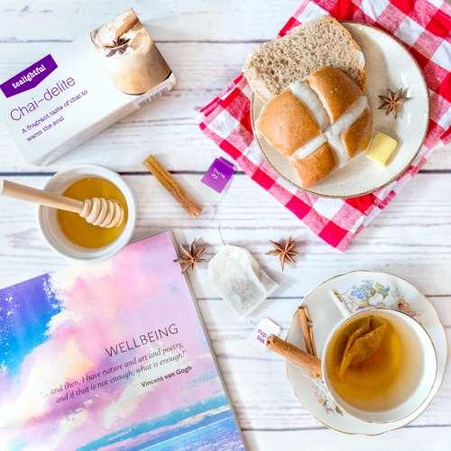 chai tea mindfulness meditation hot cross bun