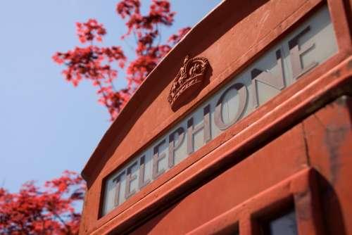 red telephone box london england