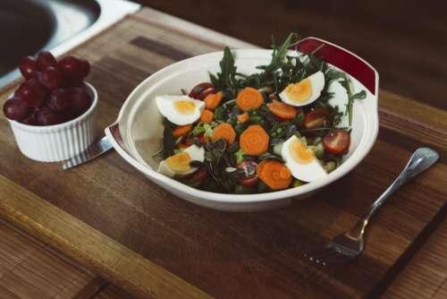 vegetable salad food egg grape