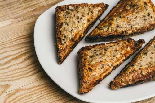 bread toasted food snacks plate