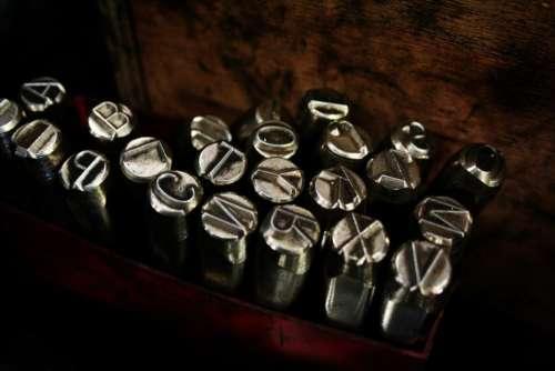 steel metal letters silver design
