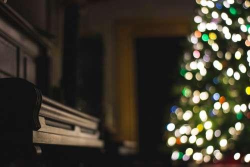 dark room christmas tree lights