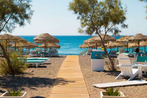 beach greece santorini palms travel