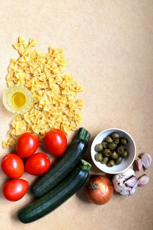 pasta ingredients top flat lay food