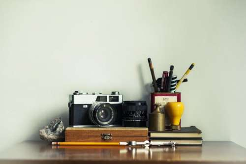 camera pencils pens stationary objects