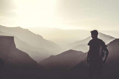 guy man people mountains landscape
