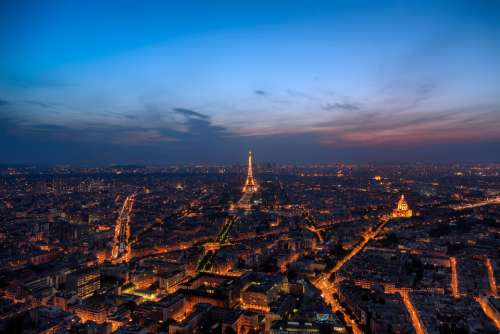 paris aerial night city french