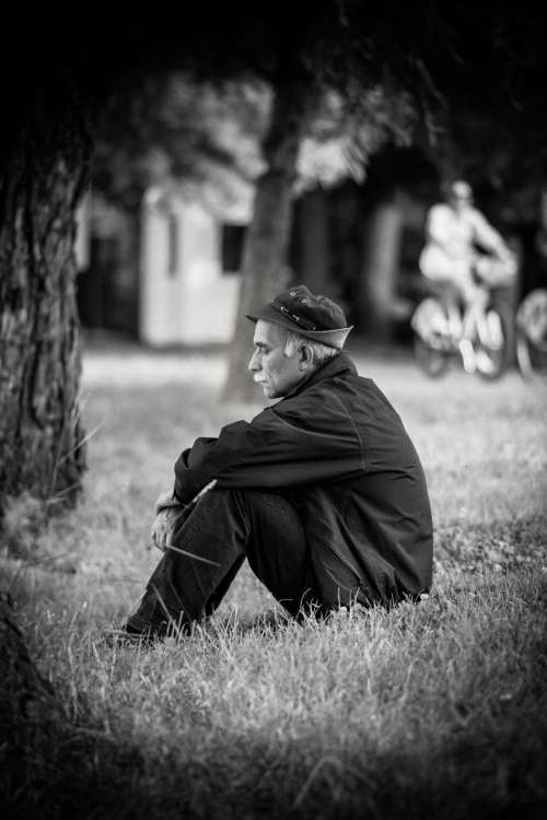 grass people old man sad