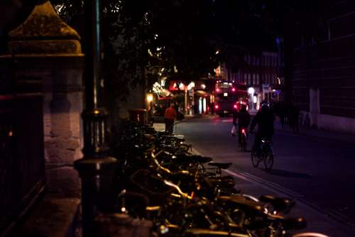 oxford night street street light bikes