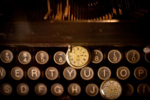 typewriter letters clock time vintage