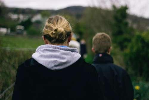 green nature people blond bun