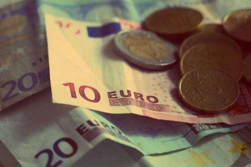 money euros banknotes bills coins