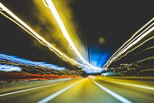 road street cars lights highway