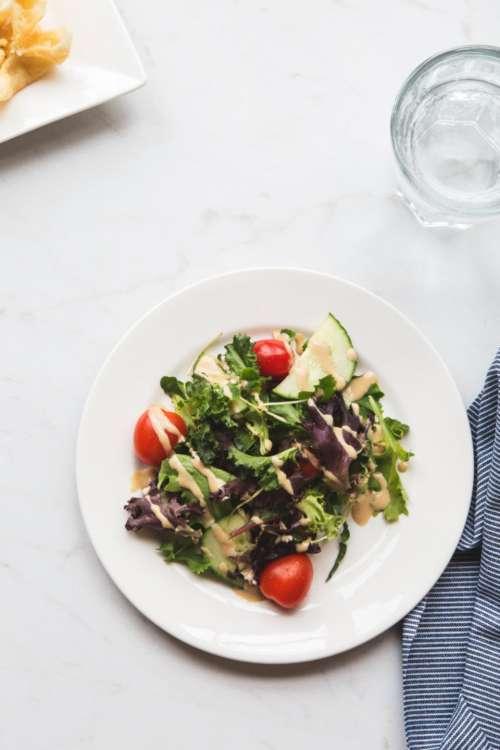 flat lay plate food salad healthy