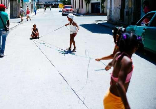 street road alley people kids