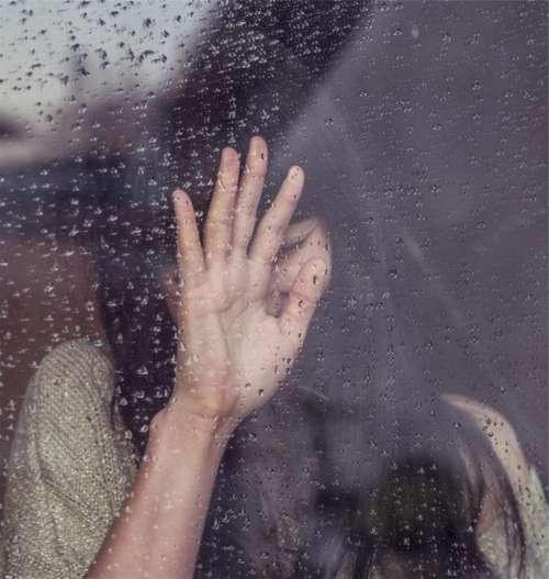 girl sad crying raining rain drops