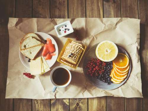 breakfast snack fruits bread coffee