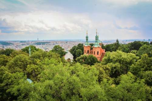 landscape trees synagoge view prague