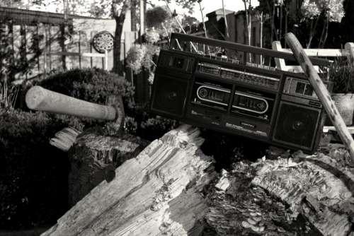 black and white monochrome woods vintage radio