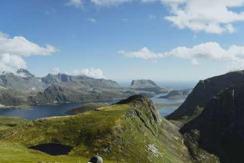 norway lofoten mountains water ocean