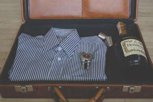 suitcase shirt clothes fashion watch