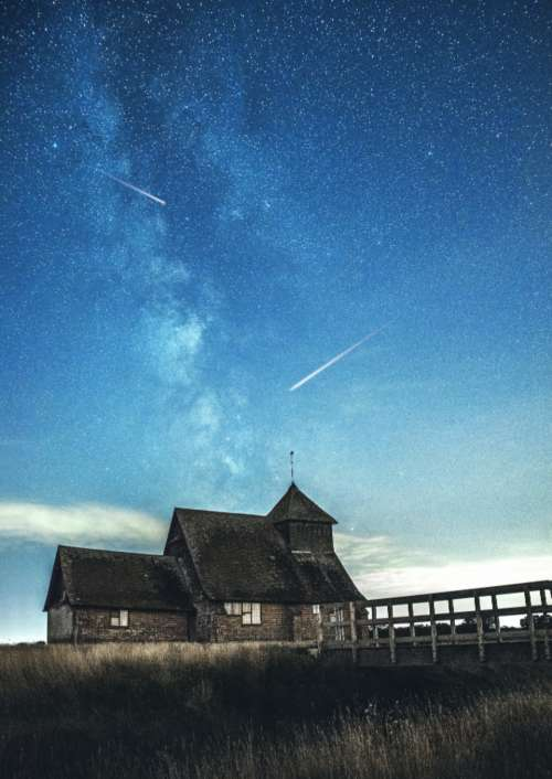 house starry sky space shooting stars