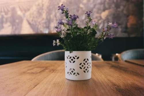 flower vase wooden table display