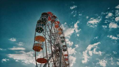 ferris wheel amusement park fun playblue sky