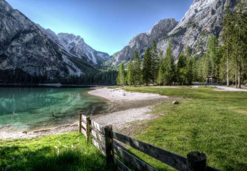 lake mountains lakeside dolomites summer