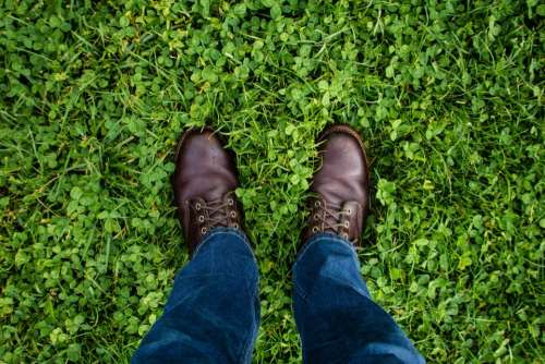 green grass jeans denim leather