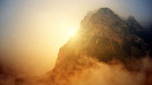 sun fog foggy mountains light