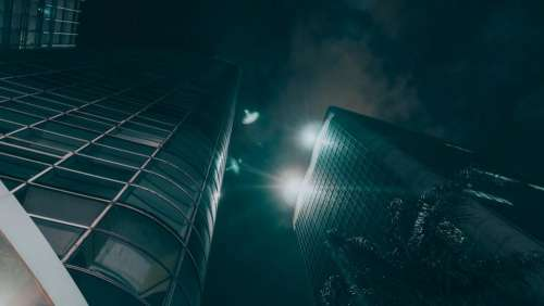 dark night architecture building hotel